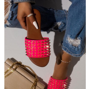 Wild Rivet EVA Leather Spiked Flat Sandal - Vipbeautycompany
