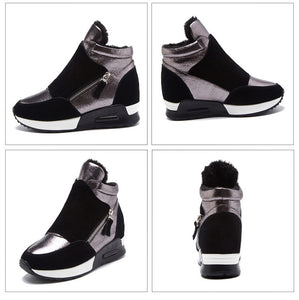 Suede Leather Boots Women Winter Shoes 2019 Fashion Ins Women Sneakers Height Increasing Shoes Warm Plush Snow Boots KT004 - Vipbeautycompany