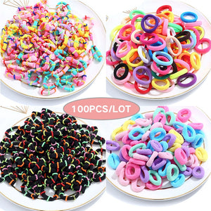 100 pcs/lot kids Elastic Hair Bands Girls Children hair rope Hair Accessories Scrunchy  Headbands Rubber Band gum for hair - Vipbeautycompany