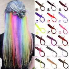 Load image into Gallery viewer, MUMUPI Long Straight color Hair Piece Hair Extensions Clip In Highlight Rainbow Hair Streak Pink Synthetic Hair Strands on Clips - Vipbeautycompany