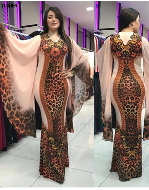 African Dresses for Women Dashiki Print African Clothes Bazin Riche Sexy Slim Ruffle Sleeve Long Party Africa Dress Clothing