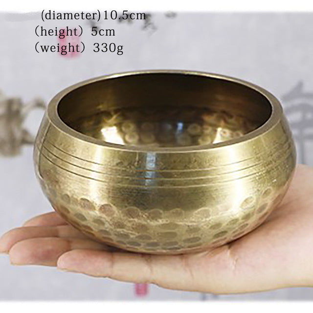 Brass Chime Bronze Qing Buddha Sound Bowl Nepal Tibet Chant Yoga Meditation Chanting Bowl Handicraft Sanskrit Brass Singing Bowl - Vipbeautycompany
