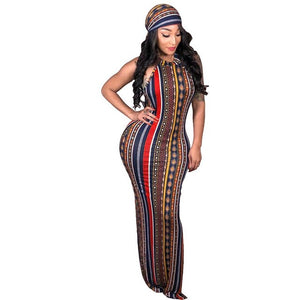 Curvy girl Bodycon stretch Long Maxi Dress With Head Scarf - Vipbeautycompany