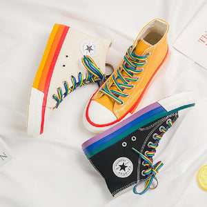 SWYIVY Rainbow Bottom Casual Shoes Woman High Top Sneakers Cavans 2020 Spring Female Casual Shoes White Canvas Sneakers Oman - Vipbeautycompany