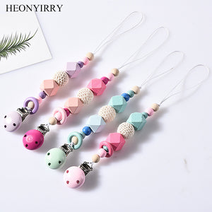 DIY Colorfull Wooden Baby Pacifier Clips Funny Pacifier Chain For Infant Feeding Toddle Teething Chew Toy Dummy Clips BPA Free - Vipbeautycompany