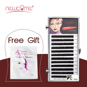 NEWCOME 12 Lines 0.05-0.25mm Russian Volume Silk Eyelash Extension Individual Korea Import Eyelashes Faux Mink Cilios Eye Lashes - Vipbeautycompany