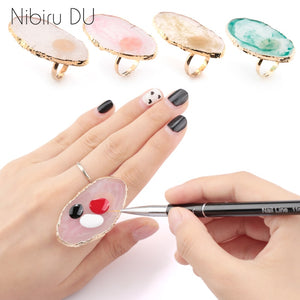 1 Pc Resin Stone Color nail art Ring Palette Finger Ring Plate Acrylic UV Gel Polish Cream Foundation Mixing Nail Art Equipment - Vipbeautycompany