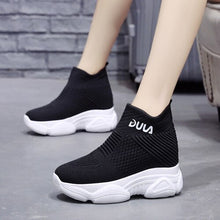 Load image into Gallery viewer, Thick-bottomed Martin boots autumn breathable women's new autumn British 2020 net red within the increase of small sock shoes - Vipbeautycompany