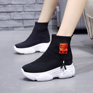 Thick-bottomed Martin boots autumn breathable women's new autumn British 2020 net red within the increase of small sock shoes - Vipbeautycompany