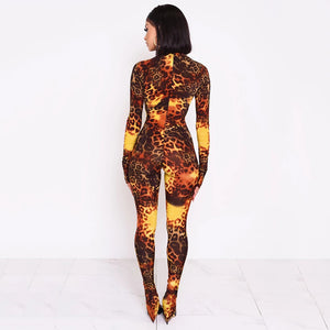 BOOFEENAA 2020 Fashion Cheetah Print Long Sleeve Bodycon Jumpsuit Women Animal Sexy One Piece Outfit Party Club Wear C92-AC27 - Vipbeautycompany