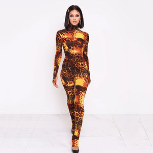 Fashion Cheetah Print Long Sleeve Bodycon Jumpsuit - Vipbeautycompany