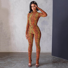 Load image into Gallery viewer, Fashion Cheetah Print Long Sleeve Bodycon Jumpsuit - Vipbeautycompany