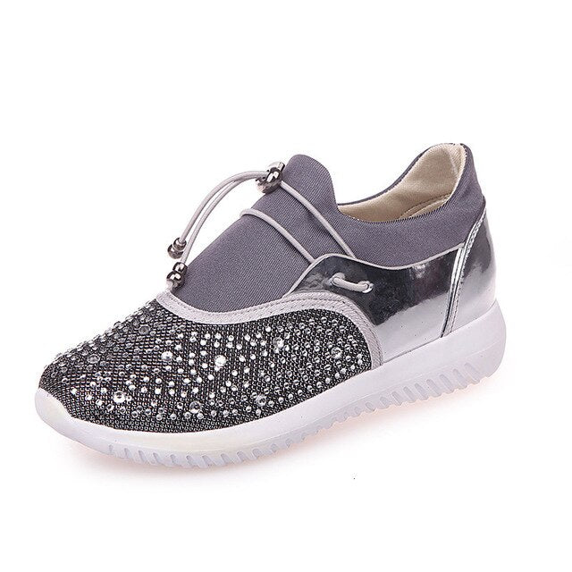 New Women's Sneakers European Crystal Woman Shoes Spring Rhinestone Shoes Ins Tide Flat Shoes Sports Tenis Feminino Zapatos - Vipbeautycompany