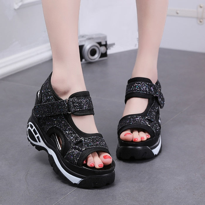 SWYIVY Women Platform Sandals Shoes Sequin 2019 New Female Casual Shoes Summer Black/chunky/high Heel Sandals For Women Size 40 - Vipbeautycompany