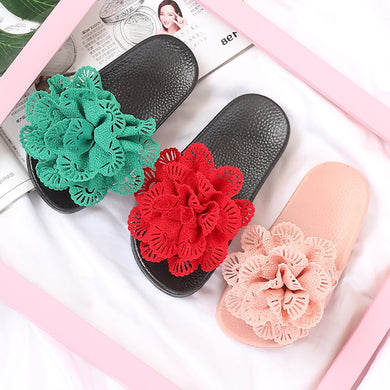 2020 Girls Solid Flower Anti-slip Slippers, Kids household & Outside Summer Footwear with soft bottom, green, Pink, Red - Vipbeautycompany