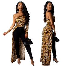 Load image into Gallery viewer, Women Party Dress Sexy Oblique Collar Leopard Dots Printed Shrug Puff Sleeve Classic Long Maxi Streetwear Elegant Ladies Outfits - Vipbeautycompany