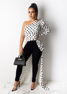 Women Party Dress Sexy Oblique Collar Leopard Dots Printed Shrug Puff Sleeve Classic Long Maxi Streetwear Elegant Ladies Outfits - Vipbeautycompany