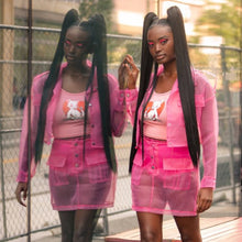 Load image into Gallery viewer, ANJAMANOR Pink Organza Mesh Sexy Two Piece Set Jacket and Skirt Fashion 2020 Club Outfits Cute 2 Pcs Matching Sets D58-AC56 - Vipbeautycompany