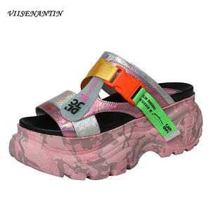 VIISENANTIN Camouflage colorful genuine leather lady slides muffin thick heel street fashion lady slides cool summer sapatos