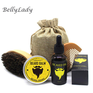 BellyLady 5Pcs Beard Hair Growth Oil Men Moustache Cream Beard Oil Kit with Moustache Comb Brush Storage Bag Styling Beard Set