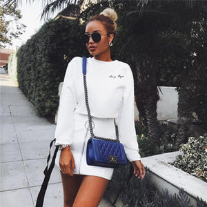 Women Bowknot Long Sleeve Hoodies Round Neck Crop Tops White Pink Short Sweatshirts Spring Outfits Fashion - Vipbeautycompany