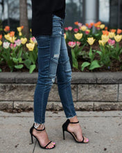Load image into Gallery viewer, Women Denim Skinny Pants Ripped Destroyed Pleated Stretch Jeans Slim Pencil Trousers