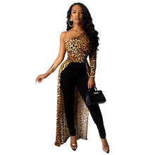 Load image into Gallery viewer, Women Party Dress Sexy Oblique Collar Leopard Dots Printed Shrug Puff Sleeve Classic Long Maxi Streetwear Elegant Ladies Outfits