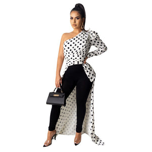 Women Party Dress Sexy Oblique Collar Leopard Dots Printed Shrug Puff Sleeve Classic Long Maxi Streetwear Elegant Ladies Outfits