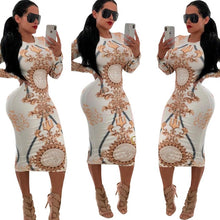 Load image into Gallery viewer, Curvy girl Women Casual O-neck Print Long Sleeve Bodycon Party Long Dress - Vipbeautycompany