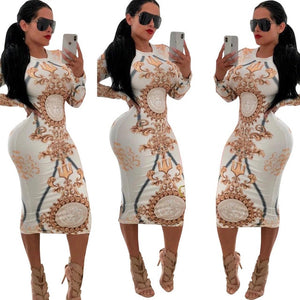 Curvy girl Women Casual O-neck Print Long Sleeve Bodycon Party Long Dress - Vipbeautycompany