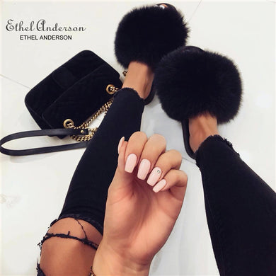 Ethel Anderson Fashion Real Raccoon Fur Slides Slippers Summer Flip Flops Casual Vogue Fox Fur Sandals Vogue Plush Shoes - Vipbeautycompany