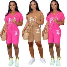 Load image into Gallery viewer, Casual Pink Letter Print Women Two Piece Set 2020 New Summer Rompers Sexy Striped T-Shirts And Skinny Pants 2pcs Outfits - Vipbeautycompany