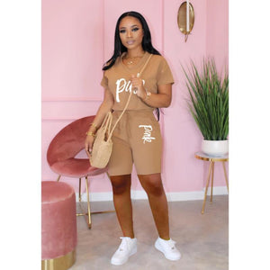 Casual Pink Letter Print Women Two Piece Set 2020 New Summer Rompers Sexy Striped T-Shirts And Skinny Pants 2pcs Outfits - Vipbeautycompany