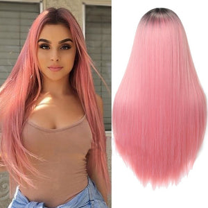 VIP  Straight Long Synthetic Wigs For Women Black Pink Wigs 24 inch 11 Color can be Cosplay Wigs - Vipbeautycompany