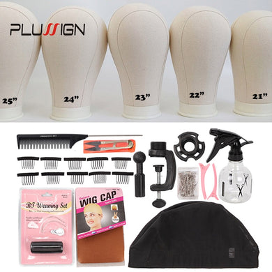 vipbeautycompany.com 11 PCS Wig Making Kit Canvas Block Head With Stand Mannequin Head Diy Professional Styling Making Tools Heads Manequin - Vipbeautycompany
