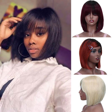 Rebecca Pixie Cut Bob Wig Peruvian Remy Straight Short Human Hair Wigs For Women Full Wig Ombre Red Blond Human Hair Bangs Wig - Vipbeautycompany