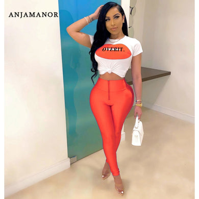 ANJAMANOR Lip Letter Print Neon Sexy Two Piece Set Women Summer 2020 Clubwear Fashion Outfits Plus Size Matching Sets D29-AF57 - Vipbeautycompany