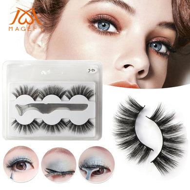 Natural Party Luxury Makeup 3Pair 3D False Lashes Fluffy Strip Eye lashes + Clip Extension mink eyelashes for beautyF5.21 - Vipbeautycompany