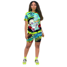 Load image into Gallery viewer, 2020 Two Piece Set Women Clothes Tie Dye Cartoon T- Shirt & Biker Shorts Sweat Suits Lounge Wear Club Outfits Matching Sets - Vipbeautycompany