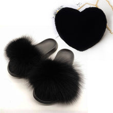 Load image into Gallery viewer, Real Fox Fur Slides Women's Fashion Heart Faux Rex Rabbit Fur Purse Set Female Casual Fox Hair Slippers Adjustable Shoulder Bags - Vipbeautycompany
