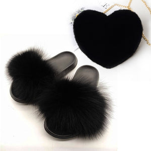 Real Fox Fur Slides Women's Fashion Heart Faux Rex Rabbit Fur Purse Set Female Casual Fox Hair Slippers Adjustable Shoulder Bags - Vipbeautycompany