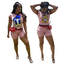 Load image into Gallery viewer, Donald Duck Sequined Two Piece Set Women Tracksuit Summer Clothes T- Shirt + Pocket Biker Shorts Club Outfits Ropa Mujer - Vipbeautycompany