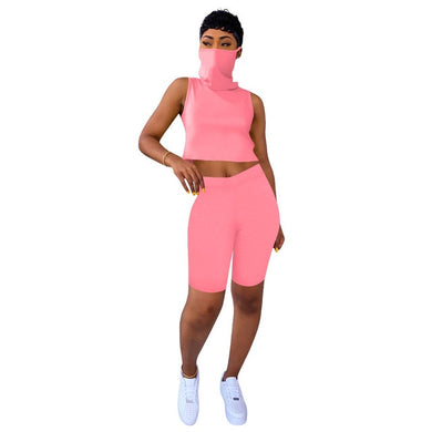 HAOYUAN Two Piece Set Women Tracksuit Summer Outfits Fitness Mask Crop Top and Biker Shorts Sweat Suit Lounge Wear Matching Sets - Vipbeautycompany
