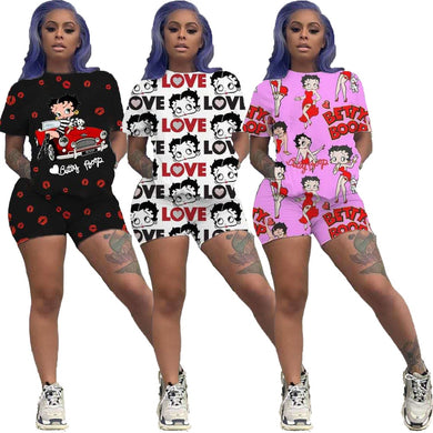 Sportswear 2 Two Pieces Sets Shorts Set Summer Clothes Women 2020 Matching Sets Cartoon Print T Shirt Women Outfits Tracksuit - Vipbeautycompany