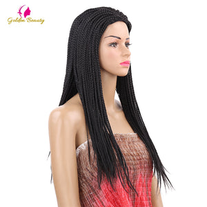 VIP  Beauty company  22inch Long Braided African Wig Box Braids Wig Natural Black Synthetic Braiding Hair Wig for Black Women - Vipbeautycompany