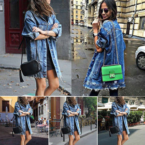 VIP2020 Basic Coat Holes Baggy Denim Jacket Long Sleeve Loose Street Style Outwear Winter NEW - Vipbeautycompany