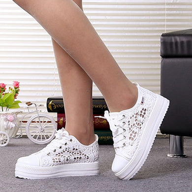 Sneakers Women Fashion Breathable Summer Platform Casual shoes Lace Leisure flat white canvas Women's Vulcanize Shoes New CLD902 - Vipbeautycompany