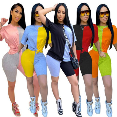 2020 Women Sets Summer Tracksuits Patchwork Sportswear Tops+Shorts Suit 2 Pieces Set Sexy Club Party Street Plus size 3xl outfit - Vipbeautycompany
