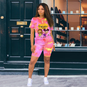 2 Piece Set Women Shorts Summer 2020 Fashion Tie Dye Cartoon Character Print Casual Matching Two Piece Biker Short Set Outfits - Vipbeautycompany