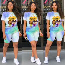 Load image into Gallery viewer, 2 Piece Set Women Shorts Summer 2020 Fashion Tie Dye Cartoon Character Print Casual Matching Two Piece Biker Short Set Outfits - Vipbeautycompany